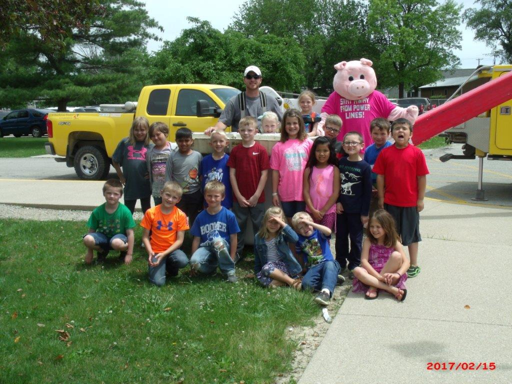 Group of kids with Power Pig